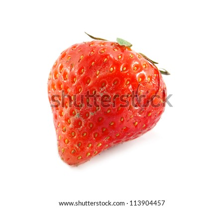 fresh strawberries were placed on a white background