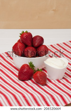 Fresh Strawberries With Sweet Cream. Natural Cotton Napkin.