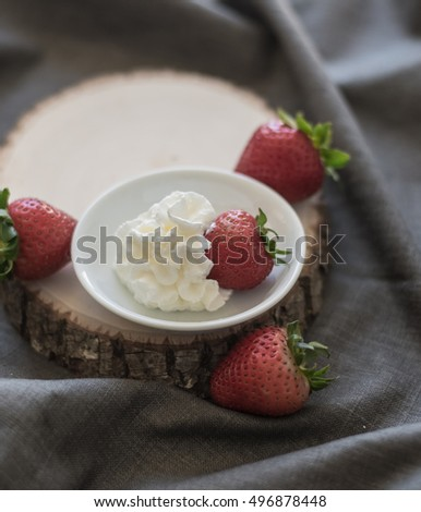 Fresh Strawberries with Whip Cream Dip