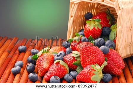 Fresh strawberry and blueberry - stock photo