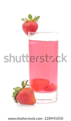 Fresh strawberry and juice glass isolated on white background
