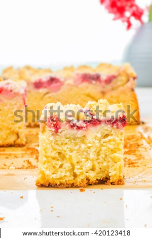 Fresh strawberry and raspberry sponge cake with vanilla crumble on white table with vase with Flowers. Fruits Greek Yogurt Cake. Picnic for a summer vacation with perfect cake. Slice of cake - stock photo