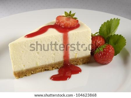 Fresh Strawberry Cheesecake - stock photo