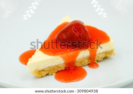 Fresh strawberry cheesecake with strawberry sauce sweet and dessert - stock photo