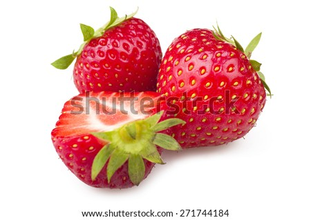 Fresh Strawberry close up on the white  - stock photo