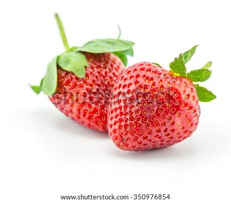 fresh strawberry, friut on white background - stock photo