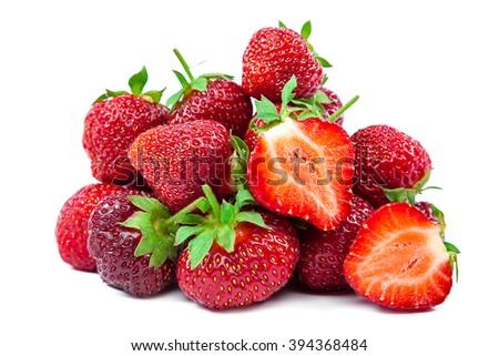 Fresh strawberry fruit isolated on white background. - stock photo