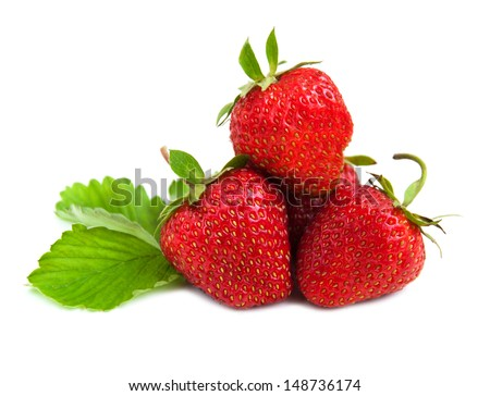 fresh strawberry fruits with  green leaves  on white background - stock photo