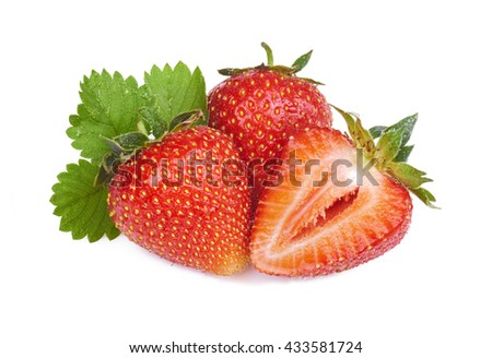 fresh strawberry in close-up - stock photo