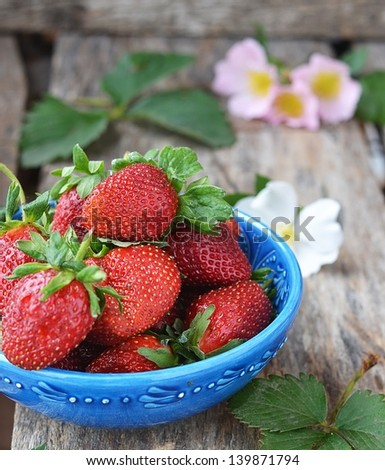 fresh strawberry in to ornamental dish - stock photo