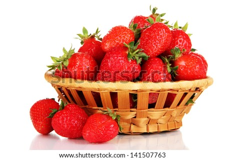 Fresh strawberry in wicker basket isolated on white