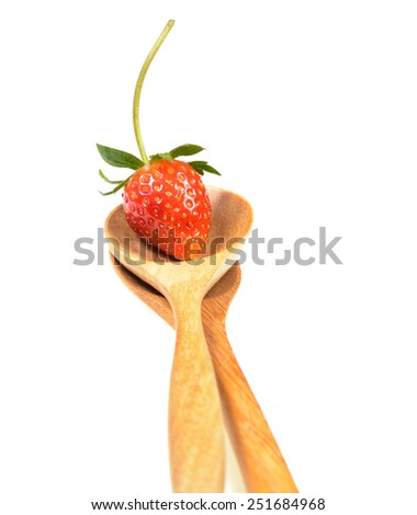 Fresh strawberry  in wooden Spoon isolated on white background - stock photo
