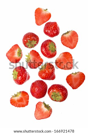 Fresh strawberry isolated on the white - stock photo