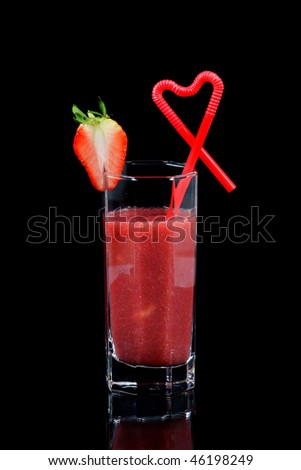 fresh strawberry juice on black background