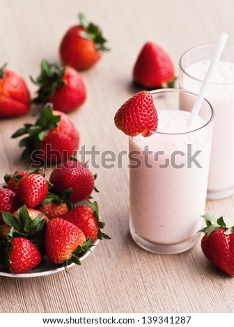 Fresh strawberry milk shake in a glass
