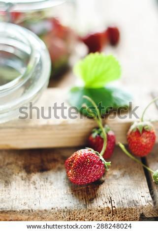 Fresh Strawberry on Wooden Background - stock photo