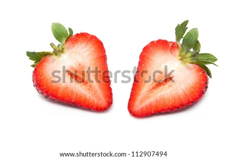 Fresh strawberry  slice on a white background - stock photo