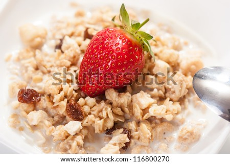 fresh strawberry with cereals