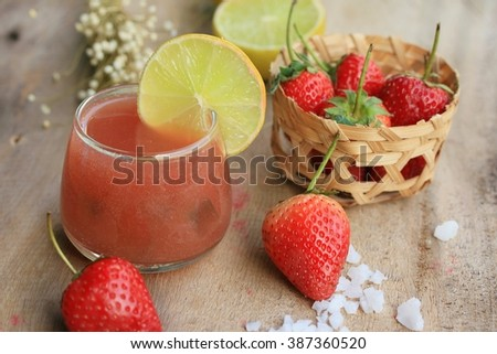 fresh strawberry with juice