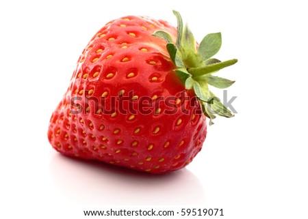 Fresh strawberry with reflection close up on white background - stock photo