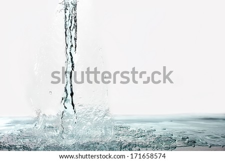 Fresh stream of water with good motion detail. Healthy Fresh Water. - stock photo