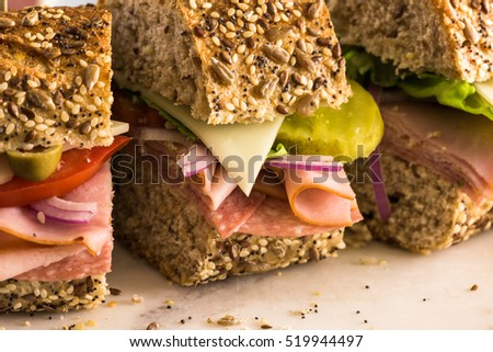 Fresh sub sandwich on multigrain bread.