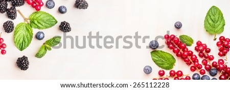 Fresh summer berries, corner frames on white wooden background, top view, banner for website - stock photo