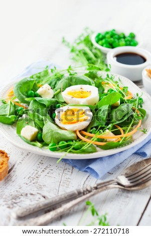 Fresh summer salad with green beans, spinach leaves and eggs on white wooden background, selective focus - stock photo