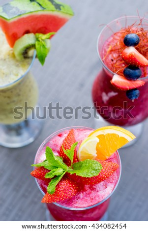 Fresh summer smoothie drinks - stock photo