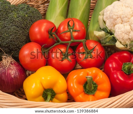 fresh summer Vegetables in a basket - stock photo
