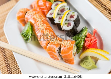 fresh Sushi rolls on a white plate