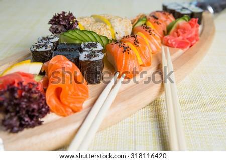 fresh sushi traditional japanese food - stock photo