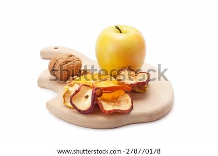 fresh sweet apple and walnut isolated on white background - stock photo