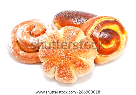 Fresh sweet buns and rolls with poppy and cream isolated on a white - stock photo
