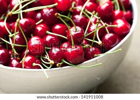 Fresh sweet cherries - stock photo