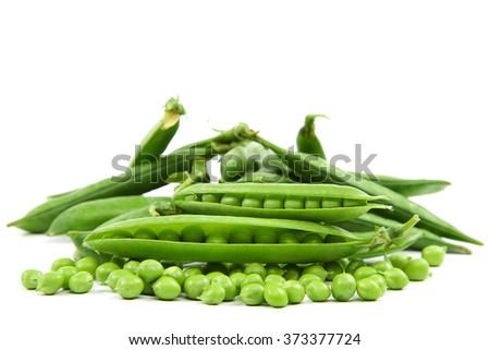 Fresh sweet green pea pod isolated on white background. - stock photo