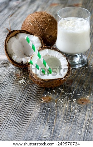 Fresh sweet healthy coconut milk shake vertical  - stock photo