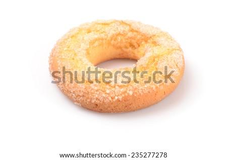 fresh sweet homemade bagels isolated on white - stock photo