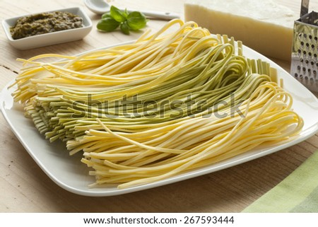 Fresh Tagliolini bicolore on a dish with pesto,basil leaves and pecorino cheese - stock photo