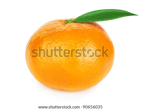 Fresh tangerine with leaves isolated on white - stock photo