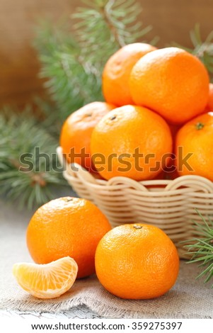 Fresh tangerines in a basket