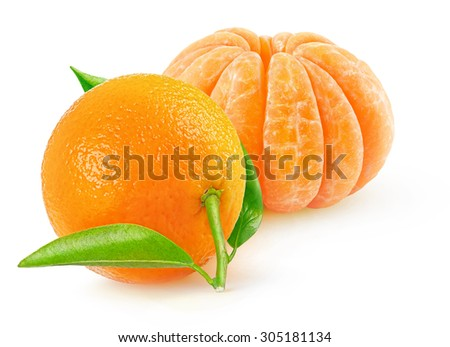 Fresh tangerines isolated on white background  - stock photo