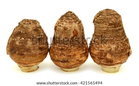 Fresh taro roots isolated on white background