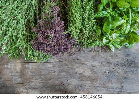 Fresh tarragon, oregano, basil, thyme on a wooden table background.