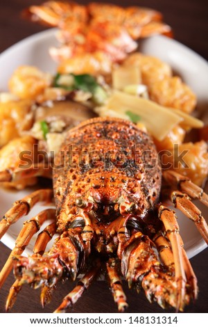 fresh tasty and colorful chinese food on wooden background