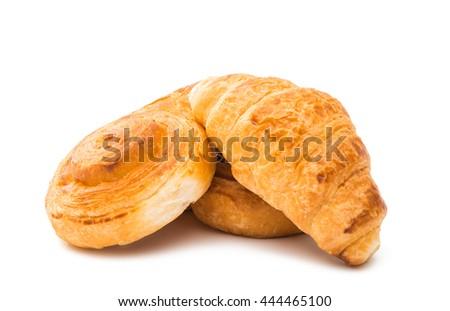 Fresh tasty buns isolated on white background - stock photo
