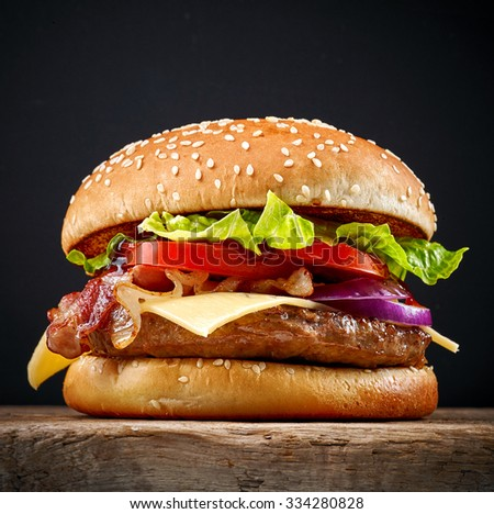 Fresh tasty burger french fries on stock photo 334280807 for Table burger
