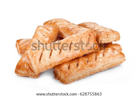 fresh tasty cookies on a white background