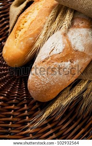Fresh tasty homemade bread close up - stock photo