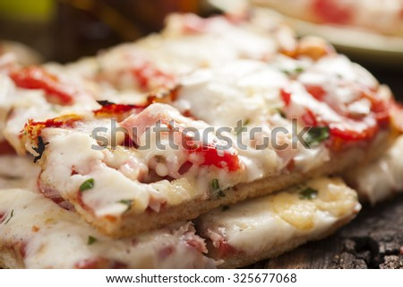 Fresh tasty pizza slices